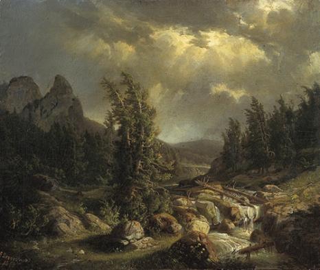 Feliks Brzozowski (1836-1892) Burza w  górach, 1866 Olej na płótnie wl. Muzeum Narodowego w Warszawie