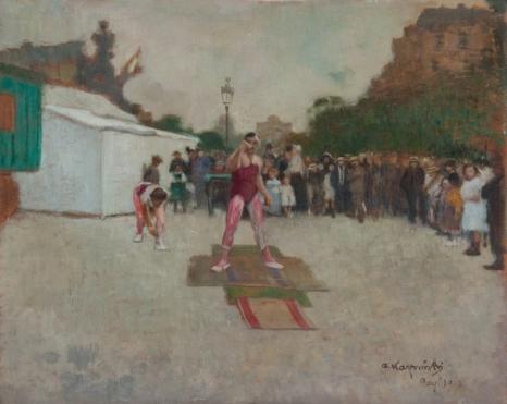 A. Karpiński, Cyrk na ulicach Paryża, olej na tekturze