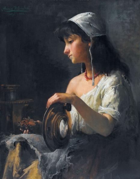 A. Bilińska, Kopciuszek, 1884, olej na płótnie, kolekcja prywatna