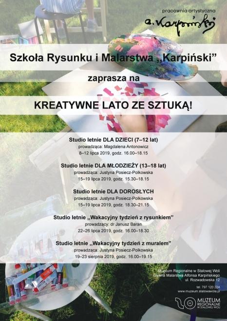 """Studio letnie w szkole rysunku i malarstwa ,,Karpiński"""""""
