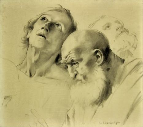 Michał Boruciński (1885-1976), Studium głów apostołów, węgiel na papierze, dar Stanisławy i Tadeusza Witkowskich w 1991 r.